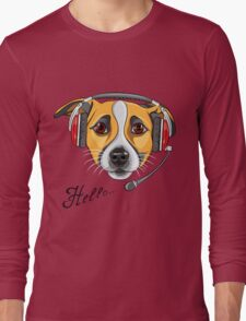 Dog Jack Russell Terrier as call center operator Long Sleeve T-Shirt