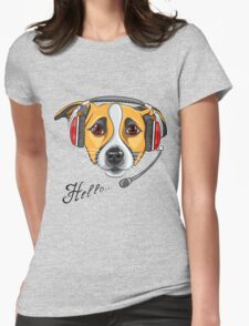 Dog Jack Russell Terrier as call center operator Womens Fitted T-Shirt