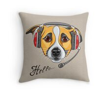Dog Jack Russell Terrier as call center operator Throw Pillow