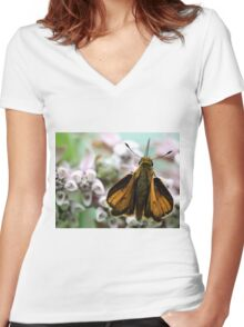 Delaware Skipper - Milkweed Blossom Women's Fitted V-Neck T-Shirt