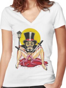 JACK THE RIPPER on white Women's Fitted V-Neck T-Shirt