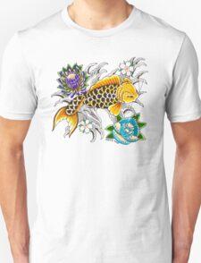Swimming Koi on White Unisex T-Shirt