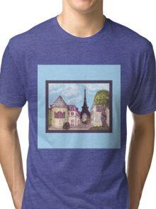 Paris Eiffel Tower inspired impressionist landscape by Kristie Hubler Tri-blend T-Shirt
