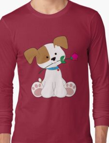 Cute Puppy with Rose Long Sleeve T-Shirt