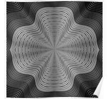 Modern Black and White Curvy Swirled Stripes Poster