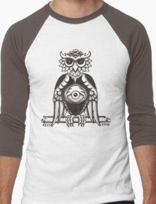 3RD EYE OWL BLACK Men's Baseball ¾ T-Shirt