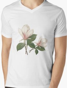 Vintage botanical art, elegant  magnolia flower. Mens V-Neck T-Shirt