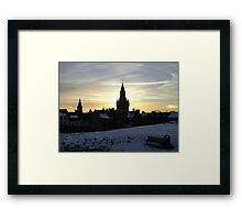 Sundogs, sunset behind City Chambers, Dunfermline Framed Print