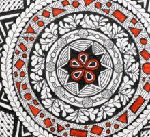 Mandala/13 - Red, Black, White Sticker
