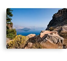 Yellow Wildflowers and Rocks Above Crater Lake  Canvas Print