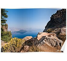 Yellow Wildflowers and Rocks Above Crater Lake  Poster