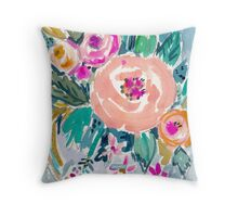 PEACH SPIN FLORAL Throw Pillow