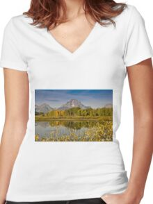 The Tetons and Fall Colors Women's Fitted V-Neck T-Shirt
