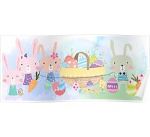 Cute Watercolors Easter Bunnies Eggs Basket Poster