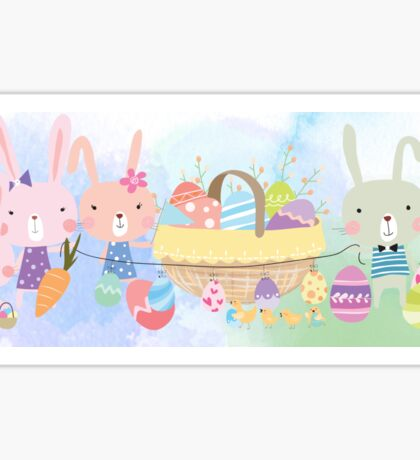 Cute Watercolors Easter Bunnies Eggs Basket Sticker