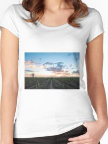 North Qld cane sunset Women's Fitted Scoop T-Shirt
