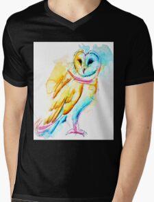 Snow Owl Watercolor Mens V-Neck T-Shirt