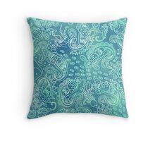 Batik Mermaid Paisley_Mint Throw Pillow