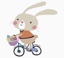 Holidays Easter Bunny on Bicycle With Eggs One Piece - Long Sleeve