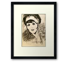Clara, Scarf and Fur Framed Print