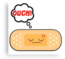 Cute Ouch Kawaii Bandage Cartoon Character Canvas Print