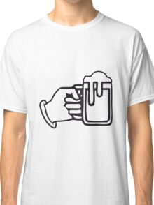 drinking beer booze handle hand Classic T-Shirt
