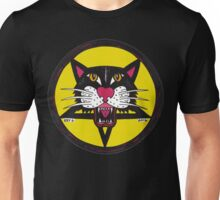 Yellow Big Black Demon Cat Unisex T-Shirt