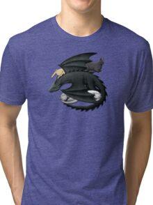 Black Dragon Guarding Sleeping Cats Tri-blend T-Shirt