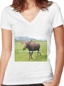 Don't moose with me Alaskan moose 2 Women's Fitted V-Neck T-Shirt
