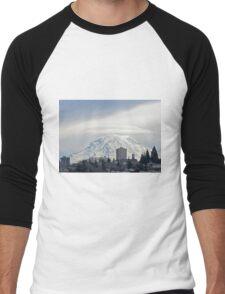 Mt. Rainier over Tacoma Men's Baseball ¾ T-Shirt
