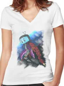 Mixed Media Women's Fitted V-Neck T-Shirt