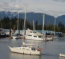 Vancouver English Bay, sea, boats and mountain view. by naturematters
