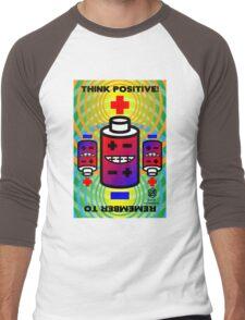 THINK POSITIVE!  + Battery Smiles - Men's Baseball ¾ T-Shirt