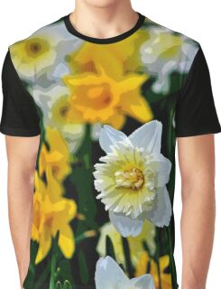 White and Yellow Daffodils in the Abstract Graphic T-Shirt