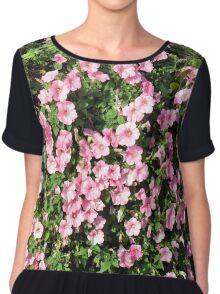 Beautiful spring bush with pink flowers. Chiffon Top