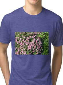 Beautiful spring bush with pink flowers. Tri-blend T-Shirt