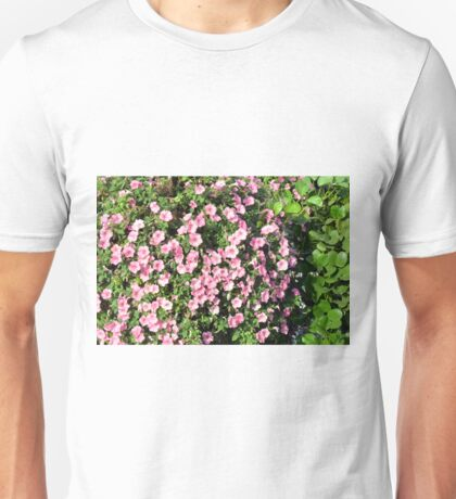 Beautiful spring bush with pink flowers. Unisex T-Shirt