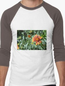 Orange flower and green leaves background. Men's Baseball ¾ T-Shirt