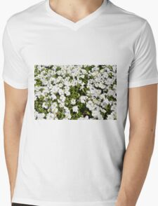 Beautiful pattern with white flowers in the garden. Mens V-Neck T-Shirt