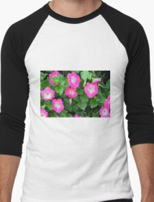 Purple flowers, natural background. Men's Baseball ¾ T-Shirt