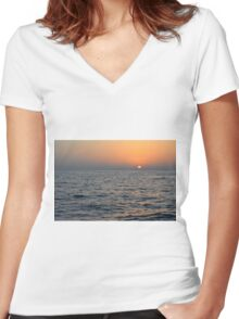 Sunset at the sea. Women's Fitted V-Neck T-Shirt