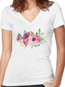 Watercolor Wild Flower Pink Bouquet Women's Fitted V-Neck T-Shirt