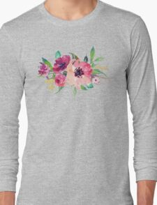 Watercolor Wild Flower Pink Bouquet Long Sleeve T-Shirt