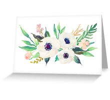 White Pink Anemone Watercolor Flower Bouquet Greeting Card