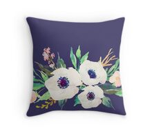 White Pink Anemone Watercolor Flower Bouquet Throw Pillow
