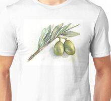 Green Olives Branch Watercolor Illustration Unisex T-Shirt