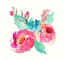 Watercolor Colorful Pink Coral Turquoise Flowers Art Print