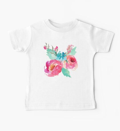Watercolor Colorful Pink Coral Turquoise Flowers Baby Tee