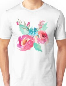 Watercolor Colorful Pink Coral Turquoise Flowers Unisex T-Shirt