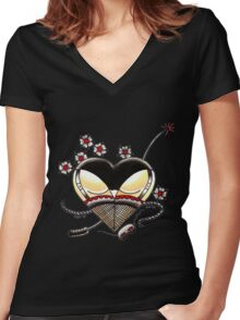 Black Panties Women's Fitted V-Neck T-Shirt